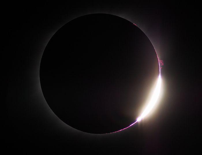 2017年8月21日 皆既日食 ダイヤモンドリングとプロミネンス アメリカ アイダホ
