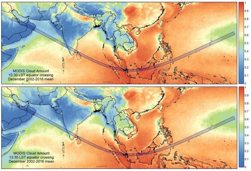 金環日食帯の雲量マップ